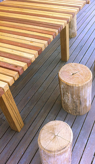 Table and seats from Australian Sustainable Timbers